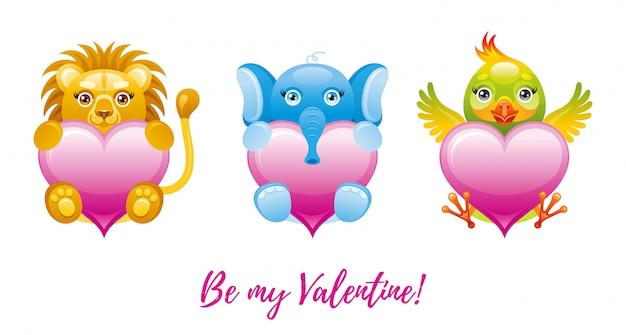 幸せなバレンタインデーのバナー。おもちゃの動物-ライオン、象、オウムと漫画かわいいハート。