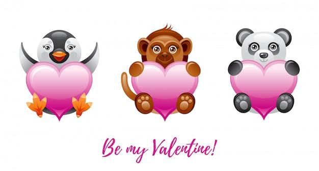 幸せなバレンタインデーのバナー。おもちゃの動物-ペンギン、猿、パンダと漫画かわいいハート。
