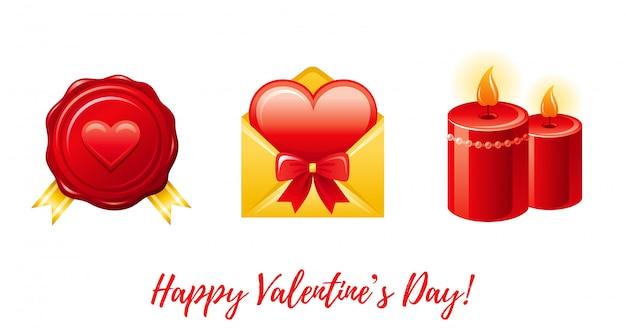 バレンタインのアイコン-郵便切手、封筒の心、キャンドルで漫画幸せなバレンタインデーの挨拶。