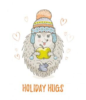 かわいいクリスマス動物、森のハリネズミをスケッチします。メリークリスマスと新年漫画水彩ベクトルイラスト。