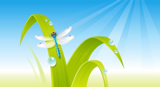 トンボと緑の新鮮な草。漫画春イラスト。