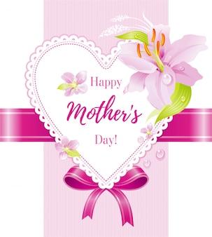 Счастливая поздравительная открытка дня матери с розовым цветком и сердцем лилии.