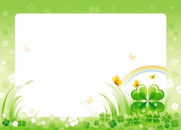 Счастливый день святого патрика с зеленой рамкой трилистника, радугой и бабочками.