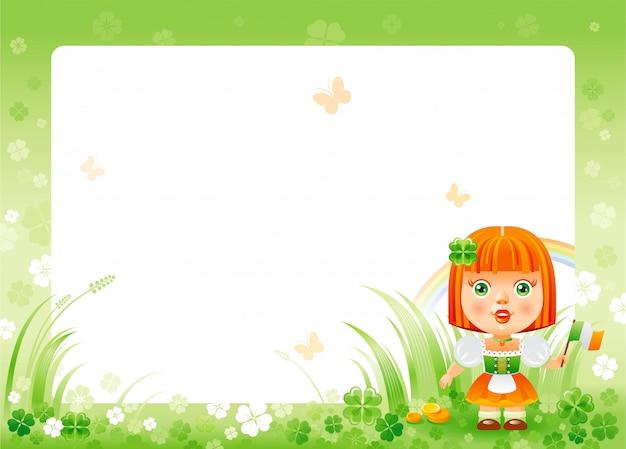 Поздравительная открытка с днем святого патрика с зеленой клеверной рамкой трилистника, радугой и милой девушкой в национальном ирландском костюме.