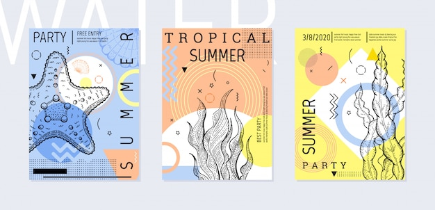Набор плакатов для летней вечеринки, геометрический стиль мемфис