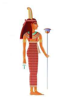エジプトの女神、ダチョウの羽を持つ神。古代エジプトの神の図。