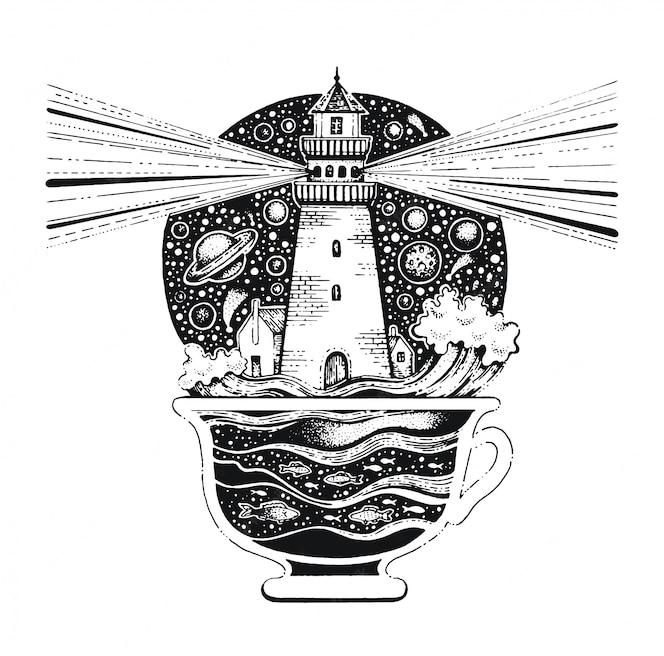 Маяк в кофейной чашке черная линия арт. винтажный стиль эскиз для футболки печати или татуировки.