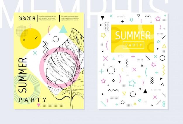 Шаблон плаката летней вечеринки установлен, геометрический стиль мемфиса. прохладный модный флаер с типом цитаты.