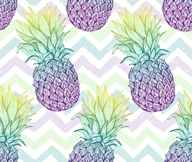 パイナップルのシームレスなパターン、手描き落書きテクスチャ。