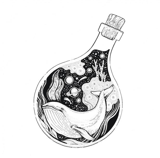 Кит в бутылке черная линия арт. винтажный стиль эскиз для футболки печати или татуировки.