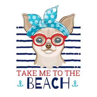 ヴィンテージのハイバンドと赤いメガネのチワワ犬、かわいいヴィンテージ犬のプリントデザイン。