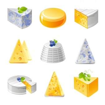 リアルなチーズ料理セット。ソフトリコッタ、ロックフォール、カマンベール、ブリーチェダーチーズ。