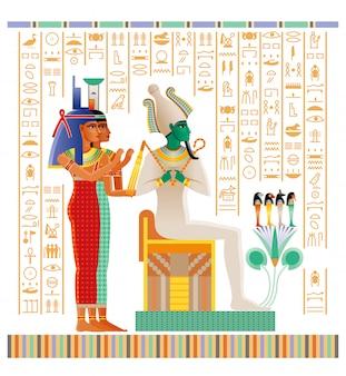 ドゥアでの来世の儀式を持つ死者の書からの古代エジプトのパピルス。神オシリス、女神イシス、ネフティス。
