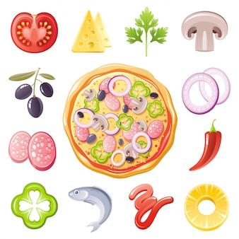 イタリアのピザの食材のアイコンを設定します。フードメニューの図。