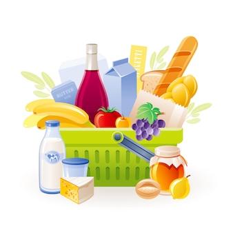 フードバスケット。ベクトルスーパーマーケットのカート、食べ物がいっぱい。製品セット付きの食料品バッグ:新鮮な牛乳、果物、野菜、パン、ワイン。