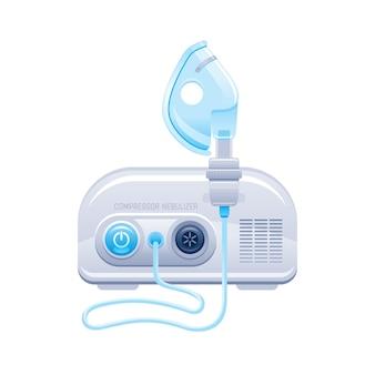 ネブライザー。酸素療法のためのマスクとエアゾールコンプレッサーを備えた医療機器。喘息、肺炎、気管支炎のための病院の呼吸治療装置。