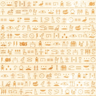 象形文字のシームレスなパターンを持つ古代エジプトのパピルス。古代エジプトからの歴史的なベクトルパターン。