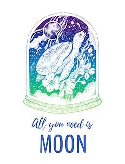 Сюрреалистическая черепаха с сакуры цветок эскиз плаката. концепция дизайна морских животных. концепция дизайна винтажный битник с лозунгом все, что вам нужно, это луна.