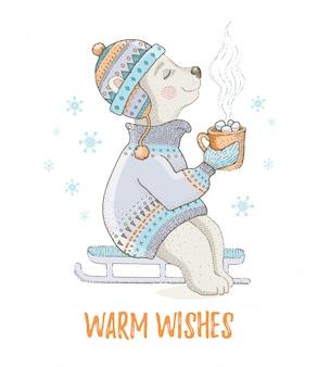 Милый рождественский белый медведь. для дизайна поздравительной открытки или футболки.