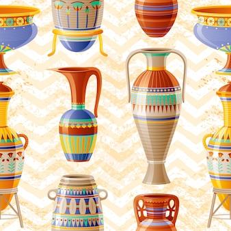 花瓶パターン。古い粘土ポット、オイルの水差し、壺、アンフォラ、ガラス、瓶、花瓶と陶器のシームレスな背景。古代エジプトのパターン。アンティークセラミックアート。