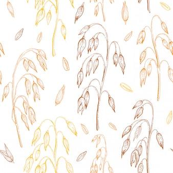 オート麦パターン。オートミールのシームレスな背景。穀物の耳のイラスト。わら、作物、種子で描かれたヴィンテージ飾りを手します。分離されたスケッチ線彫刻アート