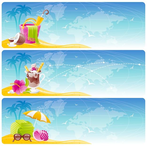 Летние пляжные баннеры. мультфильм морской фон. путешествия отпуск набор. праздник иллюстрация с песчаным островом. концепция тропического океана. солнечный пейзаж с сумкой, коктейлем, зонтиком