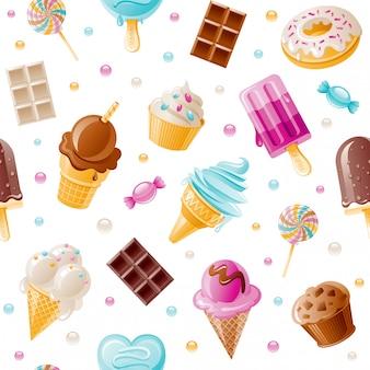 デザート柄。甘い漫画のシームレスな背景。かわいいアイスクリームコーン、キャンディ、カップケーキ、ドーナツ、チョコレート壁紙。