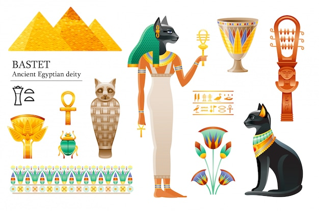 古代エジプトの女神バステトアイコンセット。猫の神、カップ、花、ミイラ、シストラス。