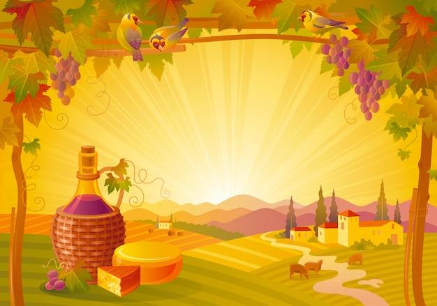 Красивый осенний пейзаж. осень сельской местности с виноградом, виноградником, винной бутылкой и сыром. день благодарения и винный фестиваль векторные иллюстрации.