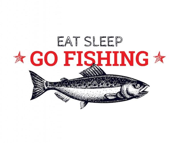 Логотип лососевых рыб для футболки с принтом ручной обращается эскиз стиля. черная линия арт.