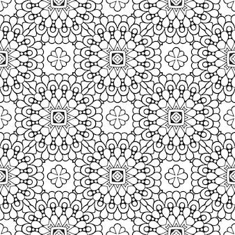 Красивый индийский традиционный бесшовный узор черно-белый