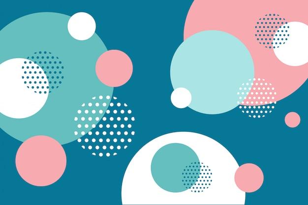 メンフィススタイルの背景で抽象的なカラフルな円形