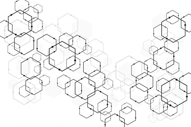 抽象的な暗いソフトグレー六角形技術
