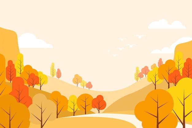 フラットスタイルの抽象的な平らな秋の風景