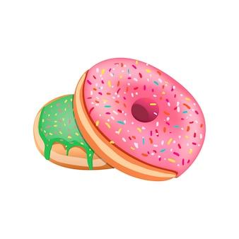 ピンクのアイシングでドーナツ