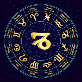 Золотой знак зодиака козерог в круге
