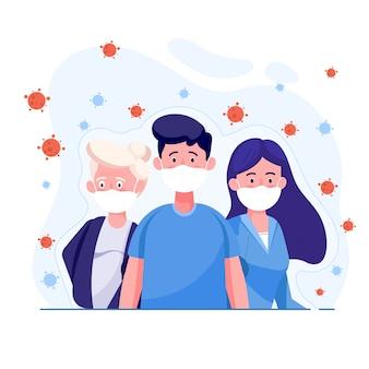 コロナウイルスを保護するための医療用保護マスクを身に着けている人々ウイルスは空中に広がります。