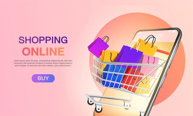 ウェブサイトまたはモバイルアプリケーションのランディングページのコンセプトマーケティングとデジタルマーケティングでオンラインショッピング。