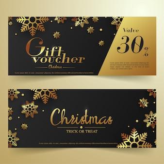 Черный и золотой рождественский подарочный ваучер баннер.