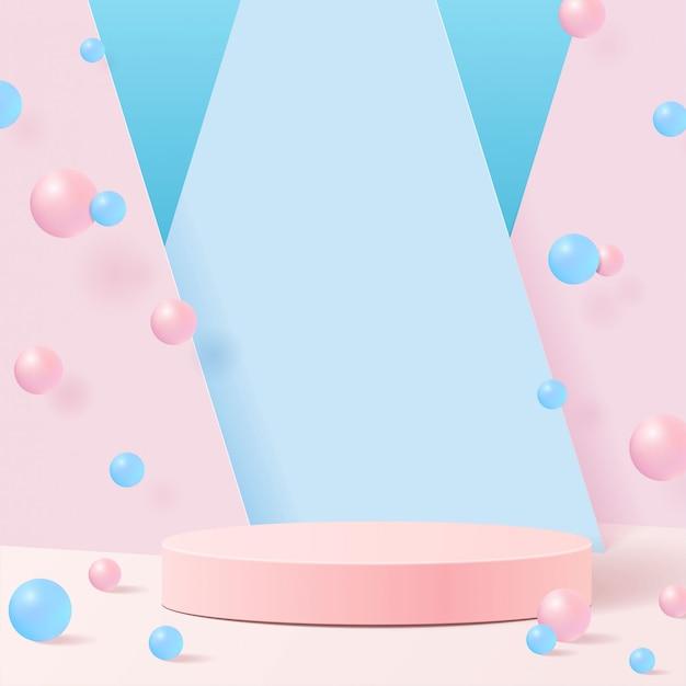ナチュラルなパステルカラーシェイプ。幾何学的な形の最小限のシーン。ボールと青い背景にピンクのシリンダー表彰台。化粧品、ショーケース、店頭、陳列ケースのシーン。