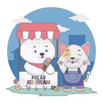 幸せな猫はクマにアイスクリームを買う