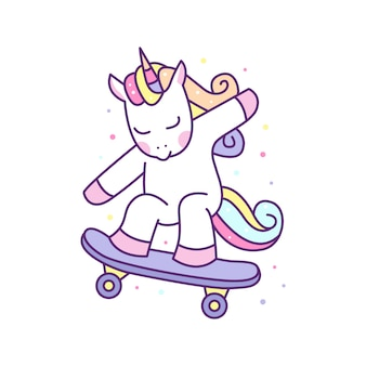 Милый единорог играет скейтборд иллюстрации, готовые для печати.
