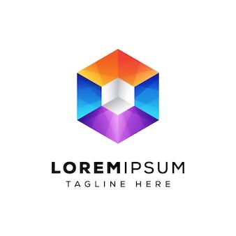Красочный шаблон логотипа коробки шестиугольника куб