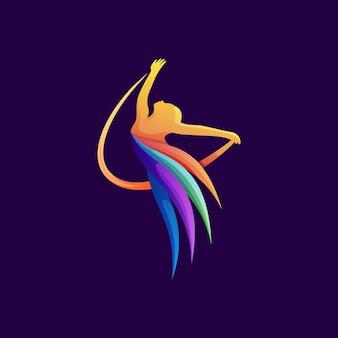 Красочный танцор логотип иллюстрации премиум вектор