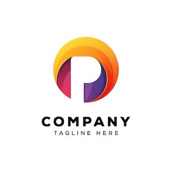 Красочная буква р круг шаблон логотипа