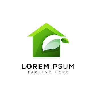 緑の家のロゴの概念ベクトルテンプレート