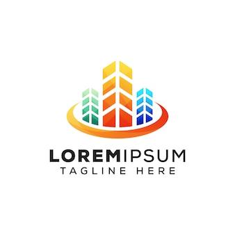Шаблон логотипа здания недвижимости