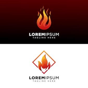 Коллекция огонь логотип дизайн премиум вектор