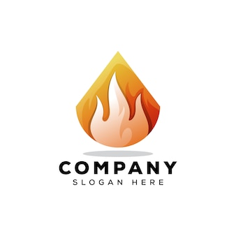 Шаблон логотипа огня треугольник