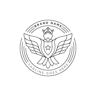 ブランドのラインアートの強いイーグルロゴ
